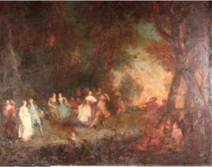 Peinture du 18e, paysage, école française, étude de Sandrine JADOT-PIVET