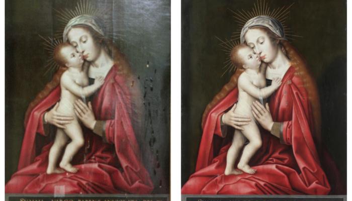 Coppin Delf, Vierge à l'enfant, 15e, Loudun (86), avant/après restauration